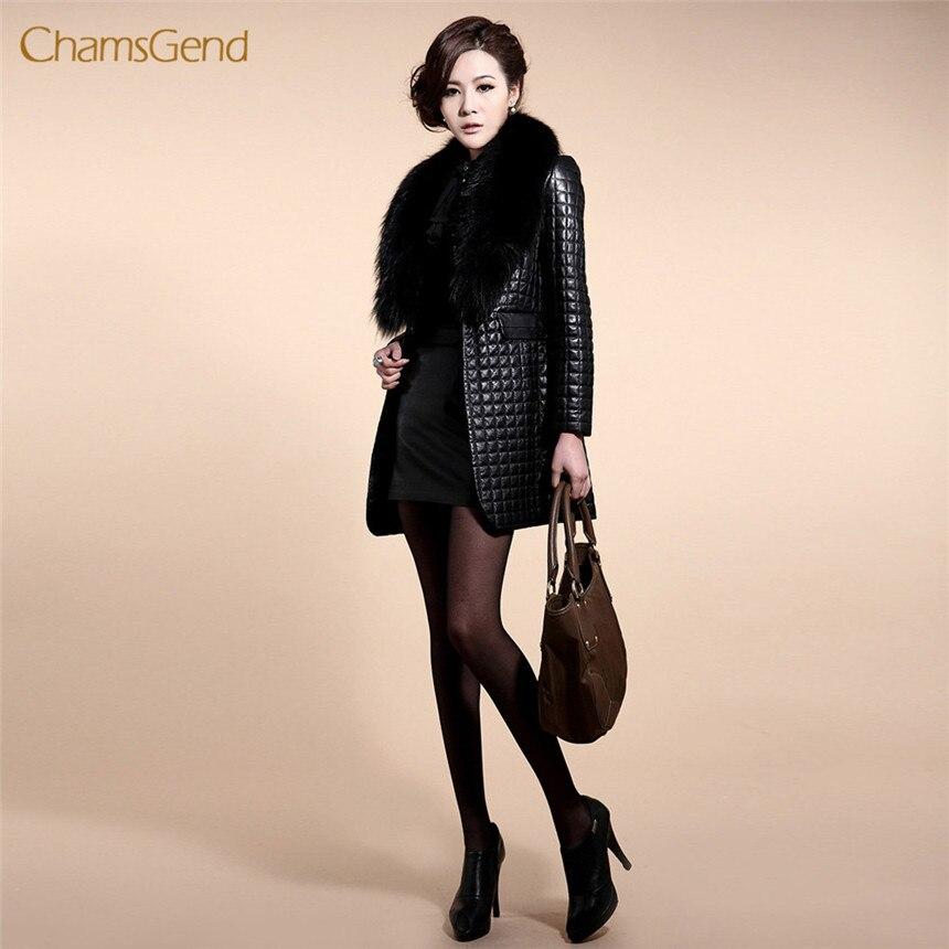 CHAMSGEND 2018 Faux Fur Coat Winter Black Fur Coat Long Sleeve   Leather   Outerwear Lady Long Style Plus Size Jacket Free Shipping