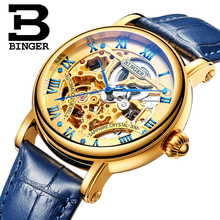 Switzerland luxury men's watche BINGER brand Hollow Out Mechanical  Wristwatches sapphire full stainless steel B-5066M-5