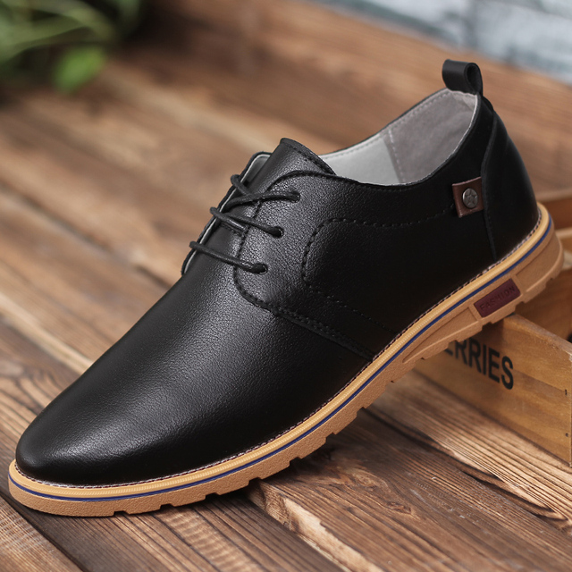 2016 New Casual Shoe Pu Leather Shoes Men Fashion Lace up Pointer Man Shoes  Breathable Black