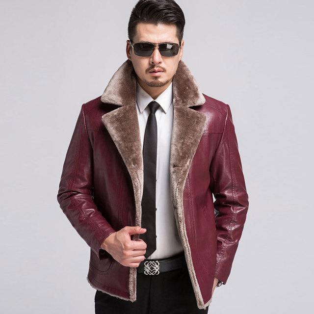 Luxury Mens Leather Jacket And Coat Fleece Retro Mens Clothing Winter Thick Pu Vintage Leather Coats With Fur Collar M-4xl