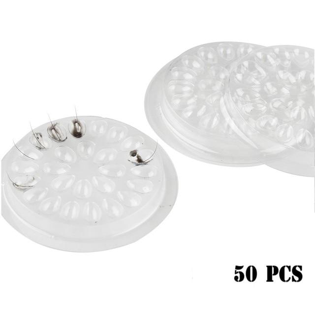 50pcs Disposable Plastic Glue Holder Gasket Flower Shape For Eyelashes Extension Adhesive Pallet Tools 4.7cm Makeup Tool