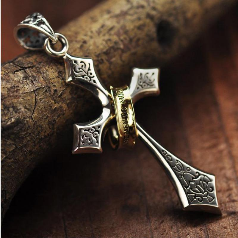 925 Sterling Silver Jesus Cross Pendant Memento Mori Flower Carving With Gold Color Circle Vitnage Personality