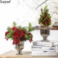 Luyue 34 cm Yapay Noel Ağacı Bitki Pot Kültür Gerçek Dokunmatik Mini Simülasyon Sahte PU Ağacı DIY Çiçek Ev Dekorasyon