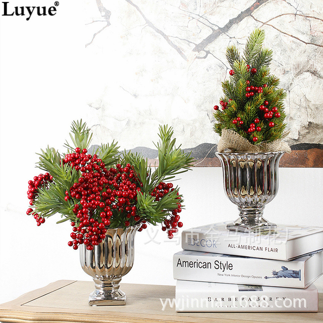 Luyue 34cm Artificial Christmas Tree Plant Pot Culture Real Touch