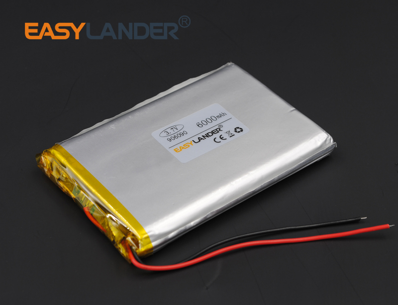 3.7V 6000mah 906090 Lithium Polymer Li-ion Rechargeable Battery For PAD DIY E-Book GPS P ...