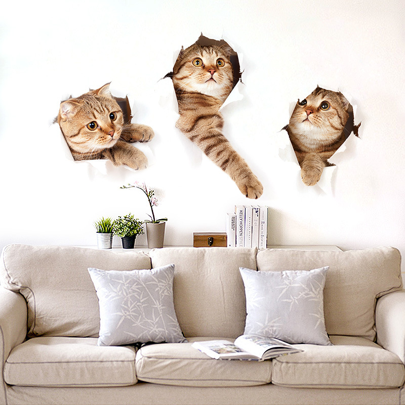 3D Cat Wall Sticker Hole View Vivid Living Room Rumah Hiasan Wall Decals Cat Wall Sticker Cute Cat poster Sticker Free shipping