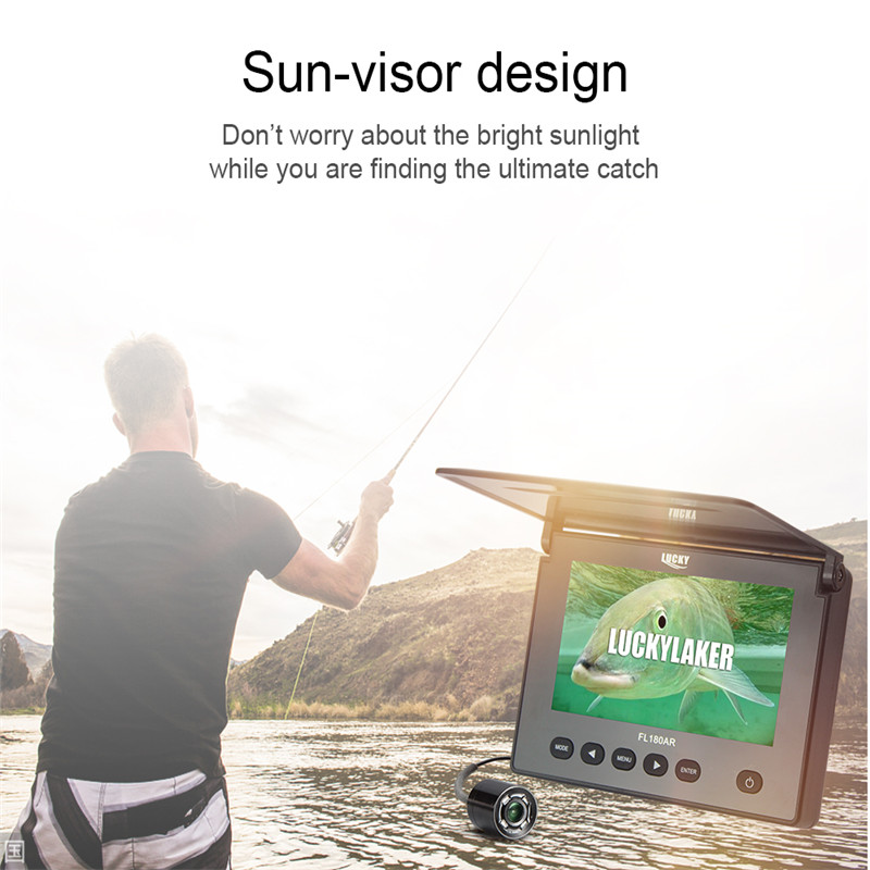 """Image 2 - LUCKY Original Underwater Fishing Camera 4.3"""" LCD Monitor 8GB DVR 4pcs Infrared Led Russian Fish Finder Fishing for Ice Fishing-in Fish Finders from Sports & Entertainment"""