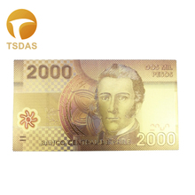 Chile Designed 24K Gold Foil Banknote 2000 Pesos for Bank Note 10pcs/lot Collection