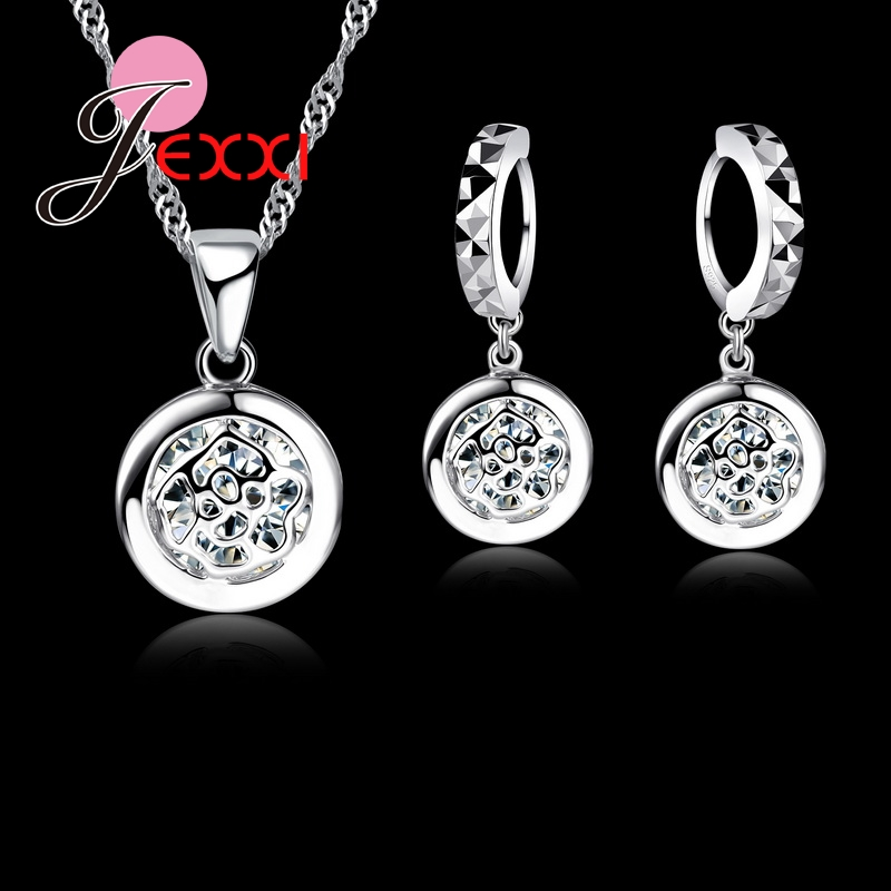 Classical Circular Rose Pendant Jewelry Set CZ Cubic Zirconia 925 Sterling Silver Necklace And Earrings Set