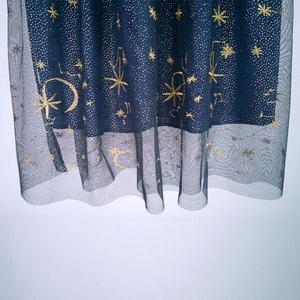 Image 5 - Flectit Gold Moon Star Embroidered Tulle Skirt Vintage Semi Sheer Fabric High Waist Pleated Midi Skirt For Women Ladies