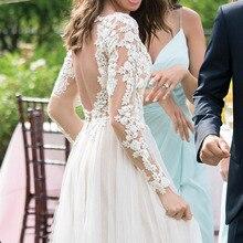 LORIE uzun kollu Boho düğün elbisesi 2019 Backless kat uzunluk aplikler dantel bir çizgi tül Vintage gelinlik gelinlik