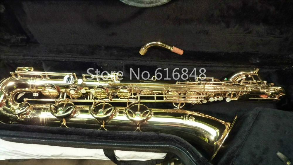 New Mark VI Brand Instrument Baritone Saxophone E Flat Gold Lacquer Surface Brass Tube High Quality Sax With Mouthpiece And Case brand new france henri selmer soprano saxophone 80 black nickel gold sax mouthpiece with case and accessories