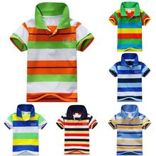 Summer Boys Cotton Clothes Tops Tee Boys Short Sleeve Striped T-Shirt