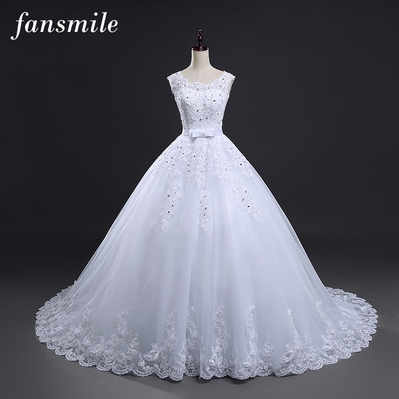 Long Train Vintage Lace Up Bow Princess Wedding Dress