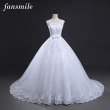 Fansmile Long Train Vintage Lace Up Bow Princess Wedding Dresses 2017 White Bridal Ball Gown Robe de Mariee Real Photo FSM-089T