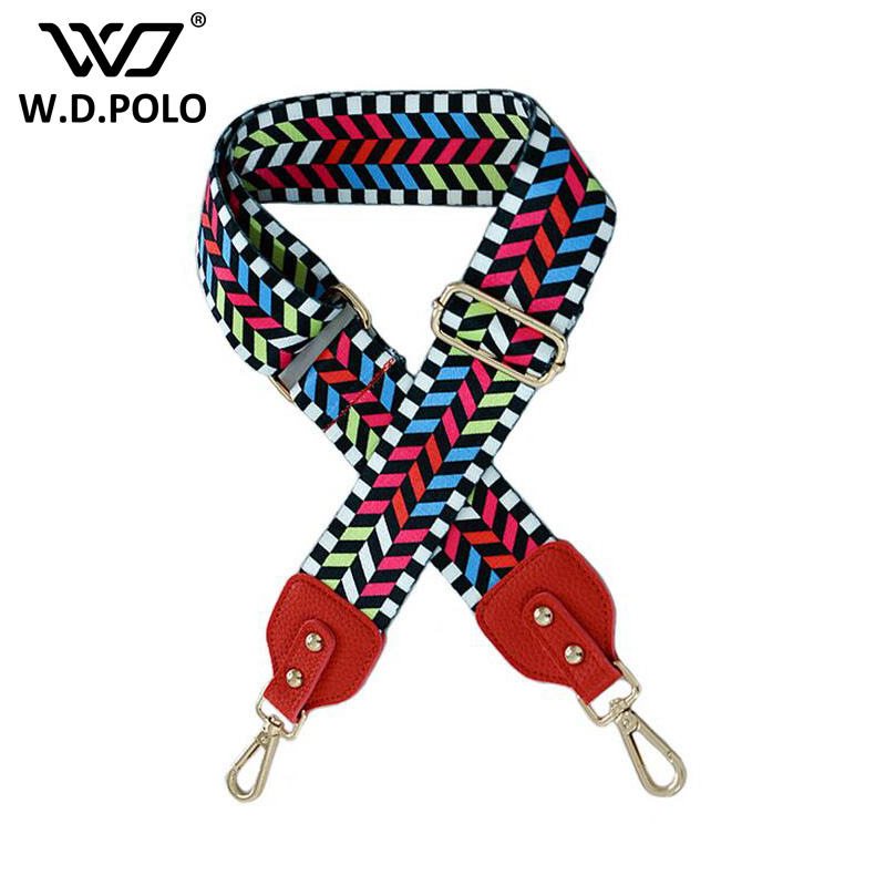 WDPOLO new colorful women handbag strap new trendy lady shoulder bag stripe colorful design canvas bags parts bags belts AA184