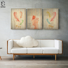 Retro Wood Grain Canvas Poster and Print Feather Parrot Wall Picture Painting Vintage Style Art for Living Room Home Decor