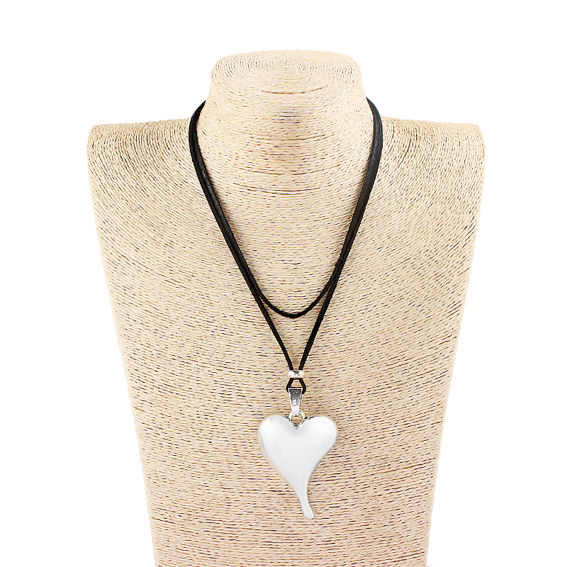 1pcs Antique Silver Charms Heart Pendant Collar Black Faux Suede Leather Cord Long Chain Necklace Jewelry Gift For Women Lover in Pendant Necklaces from Jewelry Accessories