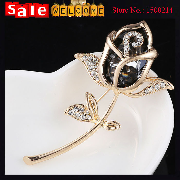 Flower Rose Clothes Sweater Dress Scarf Accessories Simple Delicate Crystal Brooches Golden Plated Shape Brooch Pins for OL Suit