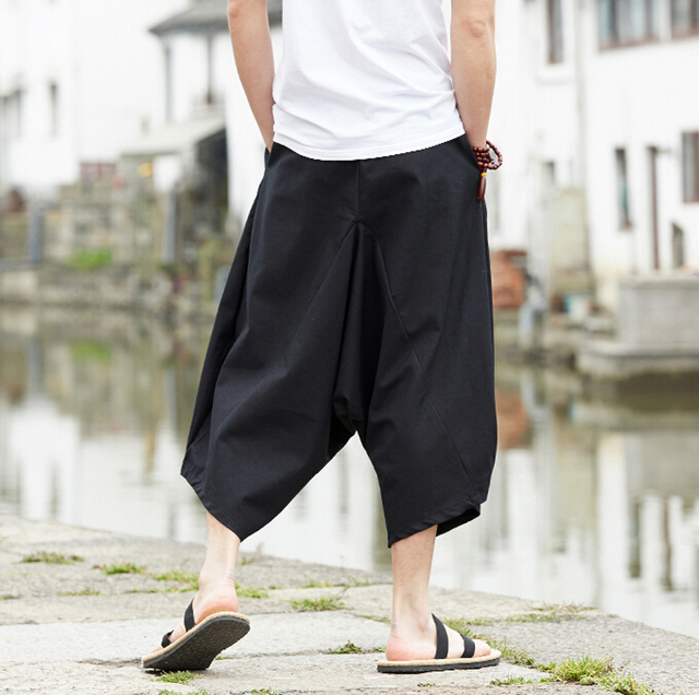 G Like Summer Chinese Style Men Loose Cotton Linen Cropped Trousers