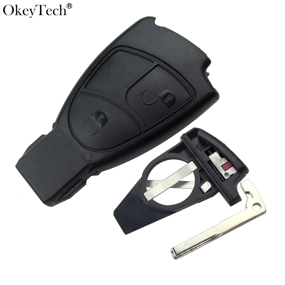 Okeyetch 3 Buttons For Smart Key Case With Blade For Mercedes Benz A B C E