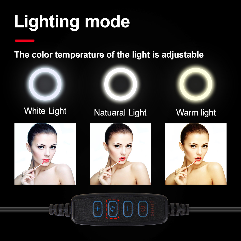 XINHUANG 10inch 26cm USB Interface Dimmable LED Selfie Ring Light Camera Phone Photography Video Makeup Lamp with Tripod Phone Clip Size : I