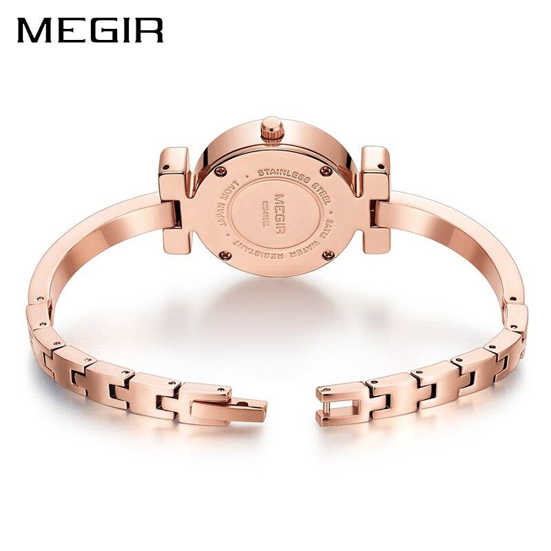 b14bc5f10b1 MEGIR Luxo Mulheres Bracelet Watch Relogio feminino Bronze Senhoras Relógios  de Quartzo Relógio para o Amante Casal Menina Pulseira Montre Femme em  Pulseira ...