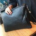 Плетеный кожаный конверт мешок человек отдыха мягкая кожа сцепления прилив Корейских женщин большой емкости портативных файл BB205