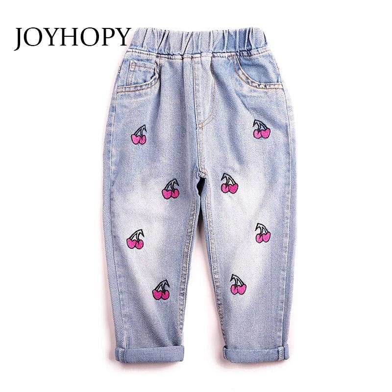 Creatief Joyhopy Meisjes Jeans Kids Kleding Lente Zomer Herfst 2018 Nieuwe Kinderen Meisjes Mode Cherry Casual Denim Broek