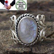 OMHXZJ Wholesale European Fashion Woman Man Party Wedding Gift Silver White Oval Moonstone Taiyin Ring RR314
