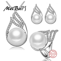 [MeiBaPJ]Freshwater pearl bridal fine jewelry 925 sterling silver pendant necklace for Women wedding and party jewelry gift box