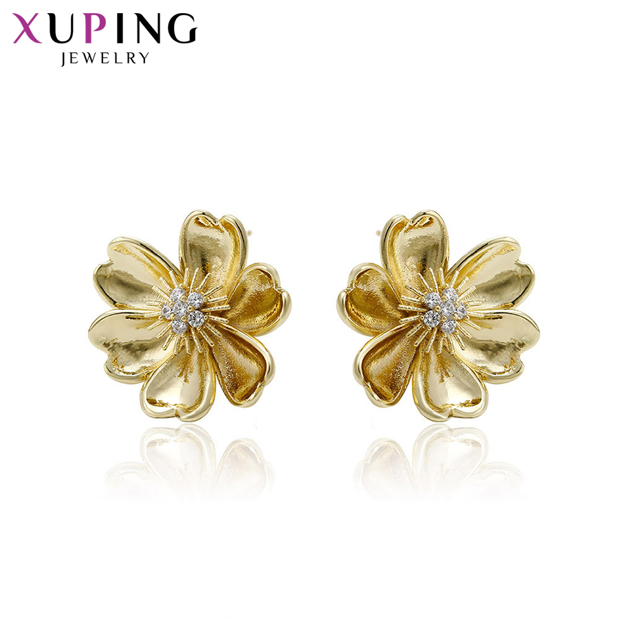 Xuping Fashion Flower Design Earring Light Yellow Gold Color Plated Stud Earrings New Ar ...