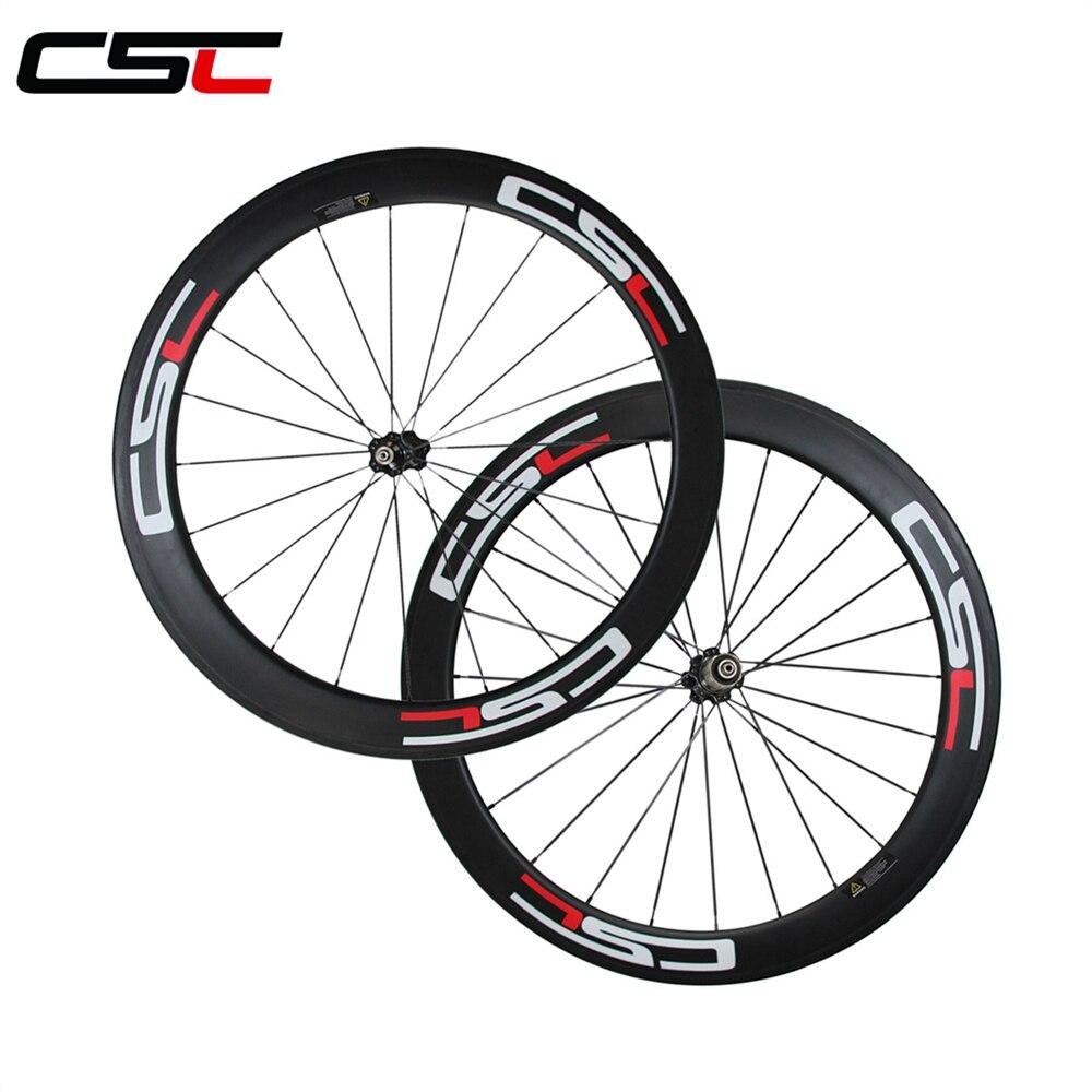 CSC carbon 60mm clincher wheels 25mm width U shape for road bike