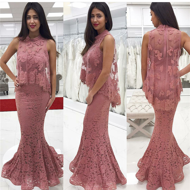 be5333f13f99 2017 Elegant Pink Lace Prom Dress Mermaid Floor Length Off Shoulder High  Neck Formal Gowns With Coat vestidos de coctel elegante