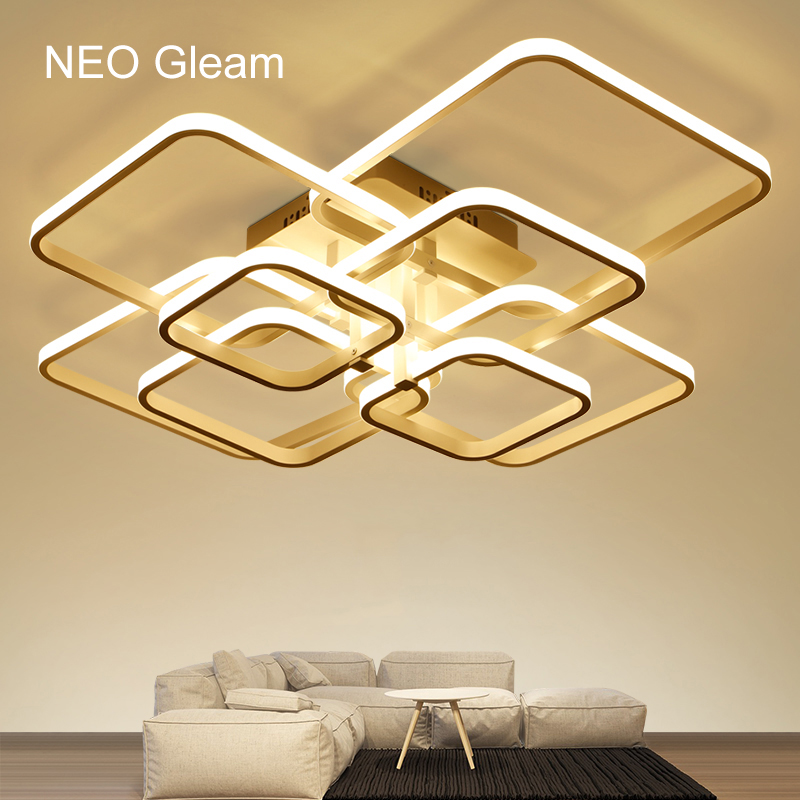 Image 2 - NEO Gleam Rectangle Acrylic Aluminum Modern Led ceiling lights for living room bedroom AC85 265V White Ceiling Lamp Fixtures-in Ceiling Lights from Lights & Lighting