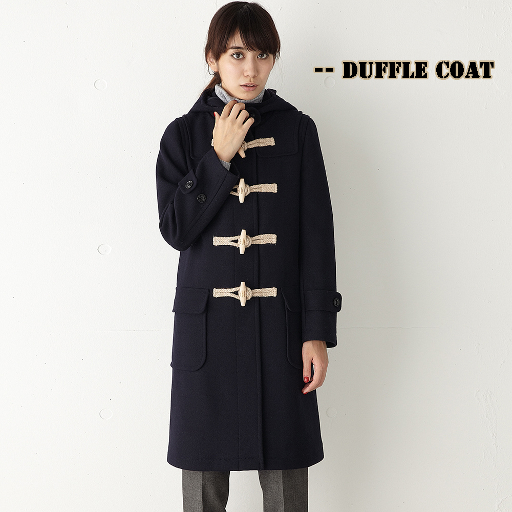 British Style Women Duffle Coat Long Woolen Coat Horn Button ...