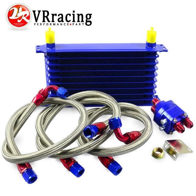 VR RACING - Universal OIL COOLER 10Row 10AN Aluminum Engine Transmission Oil Cooler Relocation Kit VR5110B+6724BR+3PCS