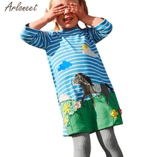 Фотография 2017girls dress  Toddler Baby dress girl Autumn Clothes Horse Print Embroidery Princess Party Dresses