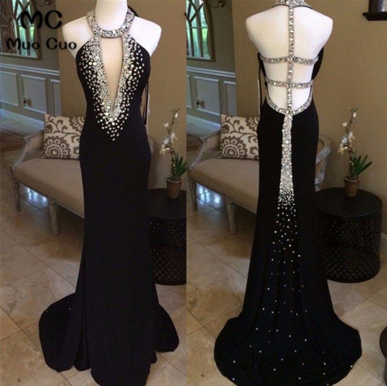 Nouveauté 2018 robes de bal noires longues avec cristaux perles dos nu licou formelle femmes robes de soirée robe de bal