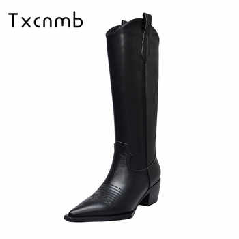 TXCNMB 2019 winter knee high boots for women high heel boots pointed toe genuine leather party dress shoes woman casual - SALE ITEM - Category 🛒 Shoes