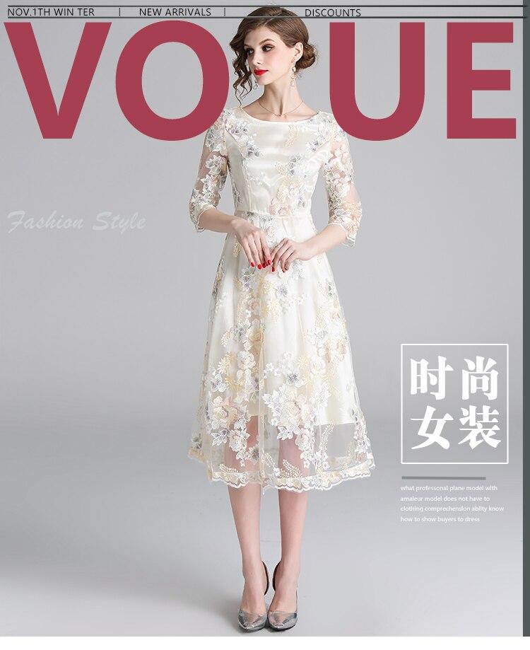57d36f5b6208d Hot Sale] Dingaozlz New Mesh embroidered Lace dress Elegant Slim ...