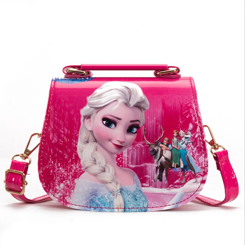 Fashion PU Princess Elsa Handbag Cute Mini Bag Children Cartoon Messenger Bags For Girls Kids Tote Girls Shoulder Bags