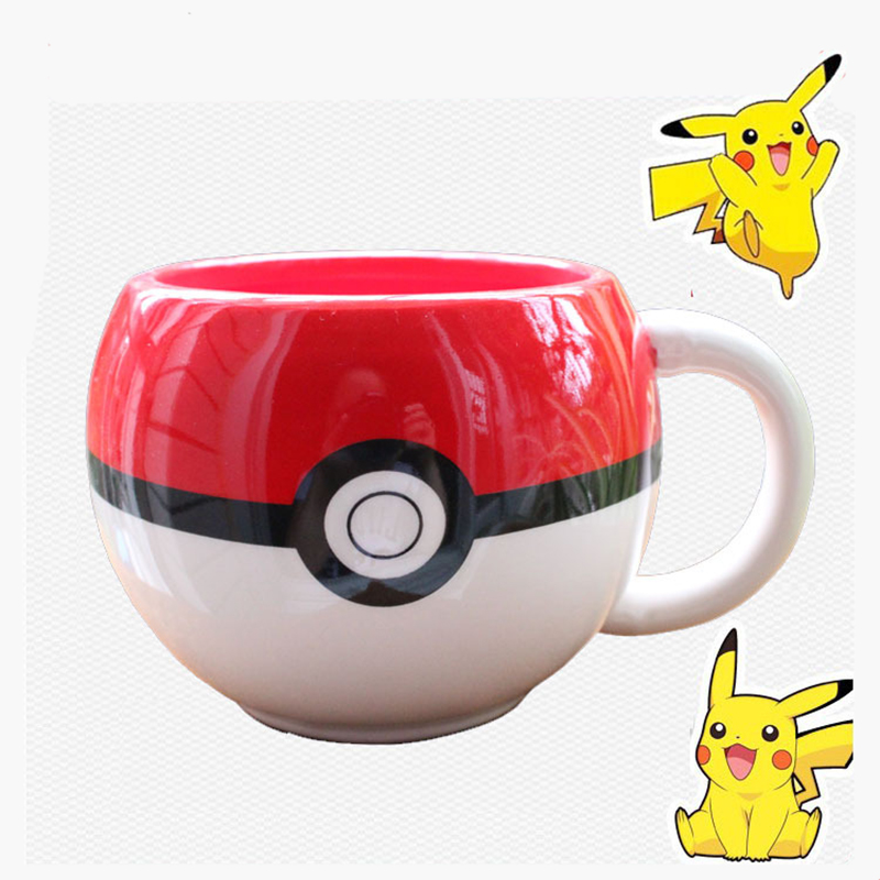 320 ml Pokemon Go poke Ball Pikachu taza, café de cerámica de handgrip taza de té para el regalo sorpresa niño taza