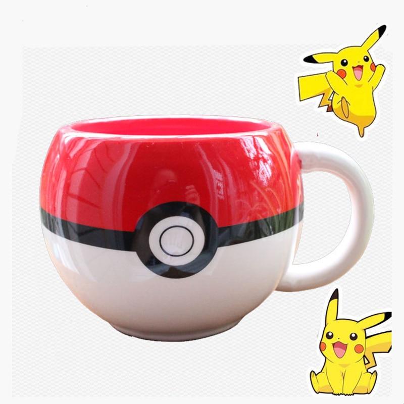 320ml Pokemon Go Poke Ball Pikachu Coffee Mug,Handgrip Ceramic Coffee Mug tea Cup for boy surprise gift cup