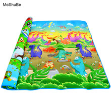 2m*1.8m*0.5cm Baby Playing Mats Double Surface Crawling Mat Baby Carpet Diosaur+Rug Animal Car Developing Mat for Child Game Pad(China)