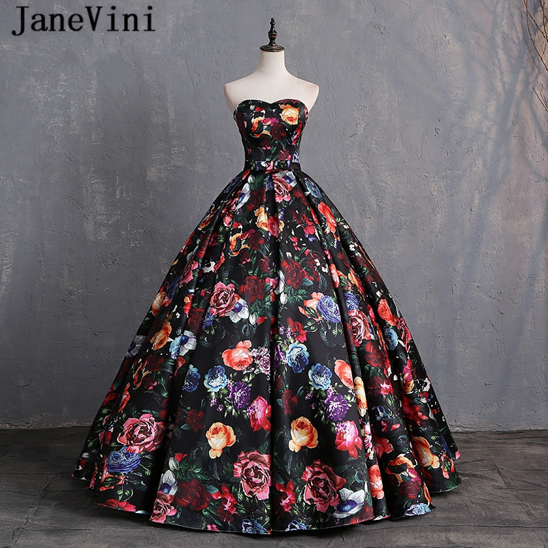 JaneVini Elegant Sweetheart Floral Prom Dress Print Pattern Satin Floor Length Dresses Women Plus Size Ball Gown Evening Dress