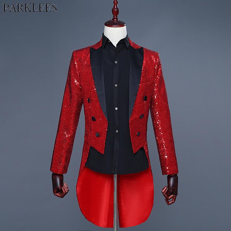 Erkek Kıyafeti'ten Blazerler'de Parlak Kırmızı Pullu Glitter Süslenmiş Smokin Blazer Erkekler Gece Kulübü DJ Parti Düğün Tailcoat Takım Elbise Erkek Sahne Şarkıcı Kostüm Homme'da  Grup 1