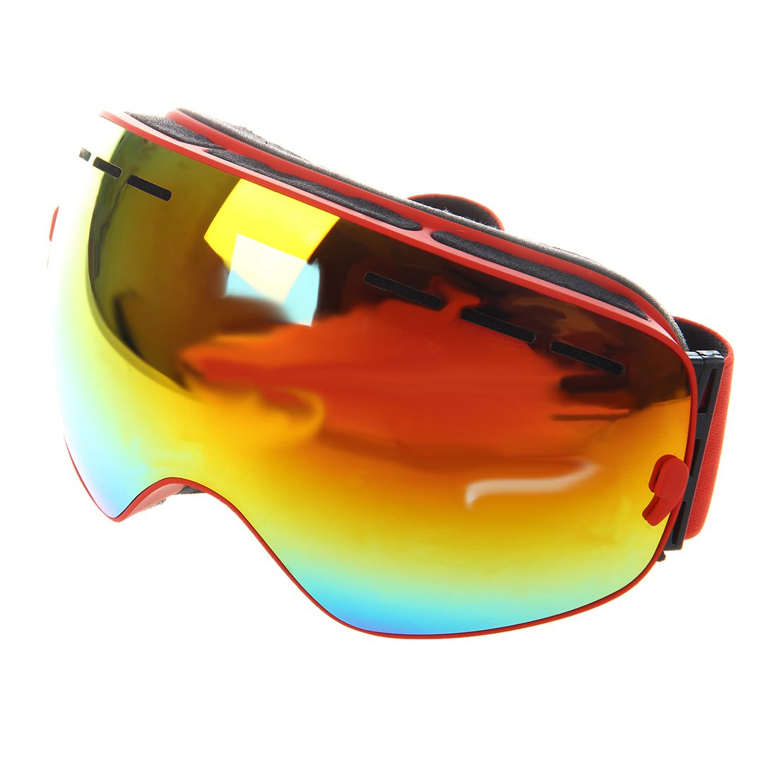 ski goggles double layer anti-fog eyes red frame
