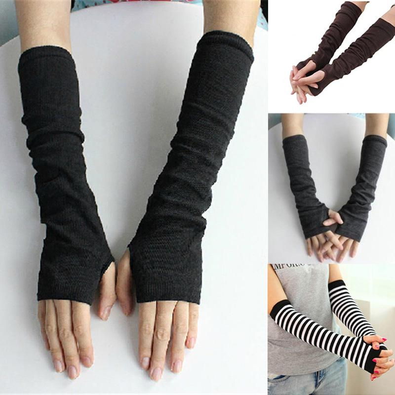 iMucci Warm Knit Wool Finger Gloves Winter Knitted Half Cuff Women Long  Polyester Fashion