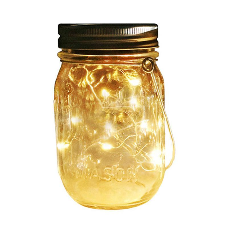 HobbyLane LED Solar Copper Wire Mason Jar Light String With Cap For Outdoor Wedding Decoration